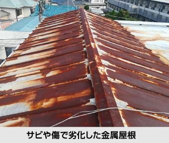 サビや傷で劣化した金属屋根