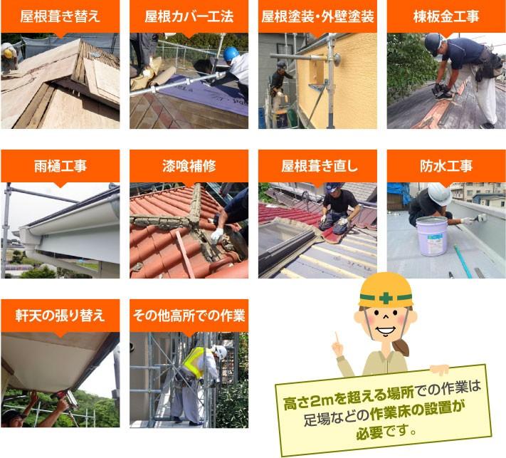 高さ2mを超える場所での作業は足場などの作業床の設置が必要です