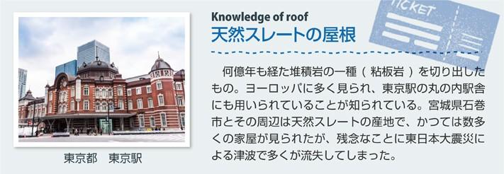 天然スレートの屋根(東京都 東京駅)