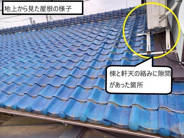 地上から見た屋根の様子