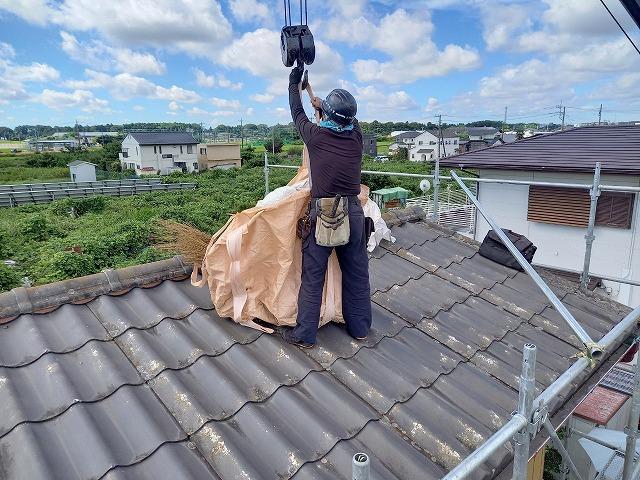 屋根材を降ろす準備