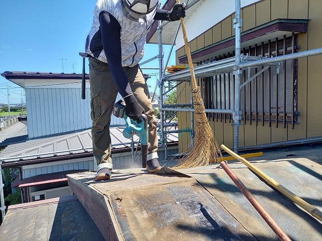 屋根下地材掃除