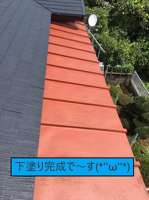 瓦棒板金屋根の下塗り完成
