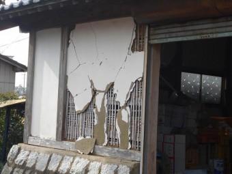門の漆喰修復工事