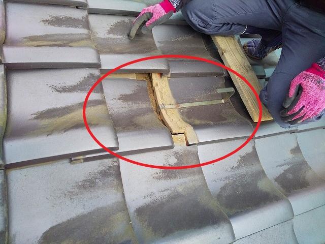 足場金具 蔵屋根の修繕工事