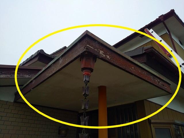 玄関破風板、軒天の傷んだ画像