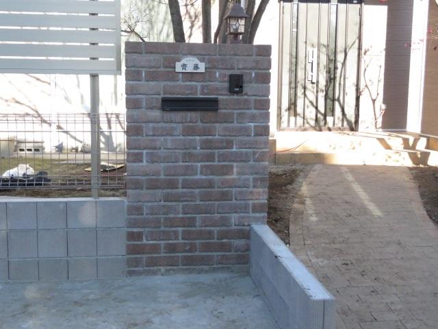 門柱の完成場面