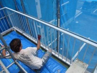 ベランダの手摺塗装工事