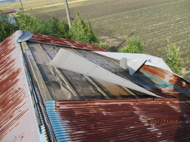 屋根材の飛散状況