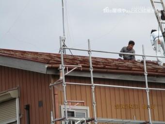 瓦棒屋根のカバー工法に依る葺き替え工事