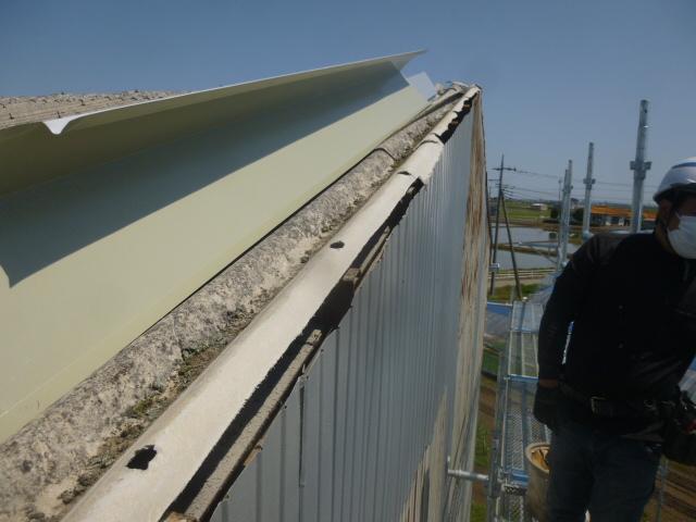 アスベスト屋根のケラバ工事