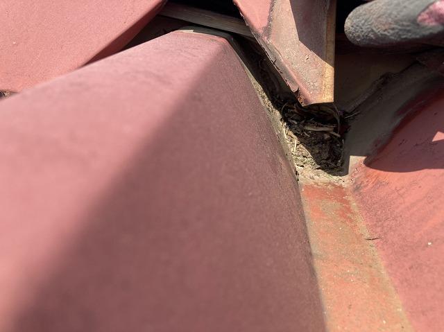 屋根板金接合部分の剝がれ