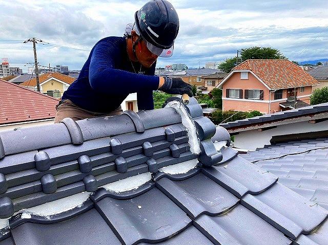 鬼瓦漆喰詰め巻き 屋根漆喰補修
