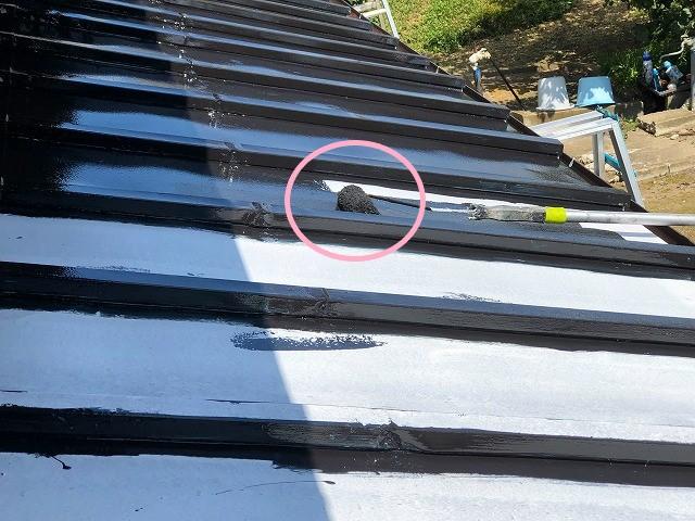ローラーを使い瓦棒屋根板金の中塗り塗装