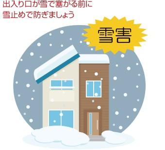 住まいの出入り口が雪でふさがる前に雪止めで防ぎましょう